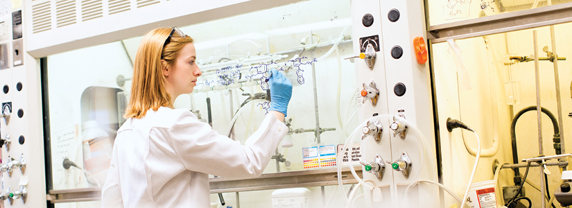 Student working in lab.